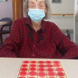Barbara having fun with Bingo